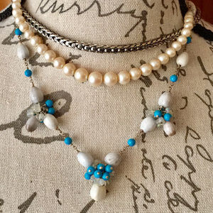 Jewelry - Sterling Silver Turquoise and Seed Pearl Necklace
